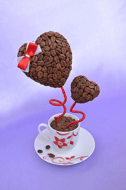 Кофейные топиарии с сердечками