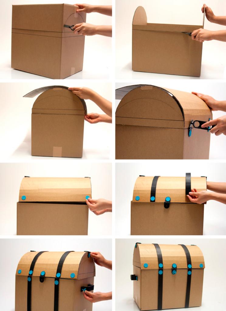 Как сделать сундучок своими руками из коробки